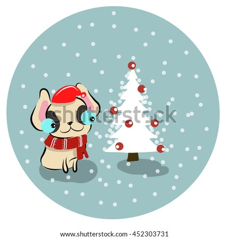 vector illustration of cute happy-christmas-cute-bull-dog cartoon drawing style