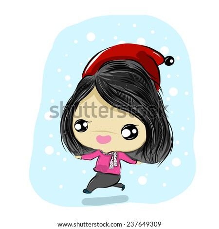 vector illustration of cute  happy winter girls  cartoon drawing style