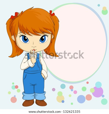 Vector illustration of Cute little country girl standing with candy - stock vector