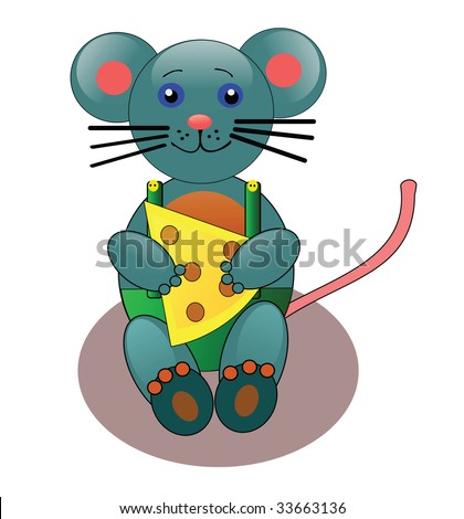 Vector illustration of cute little mouse with cheese.
