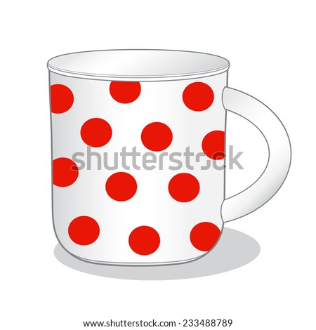 Vector illustration of cute mug with red dots - stock vector