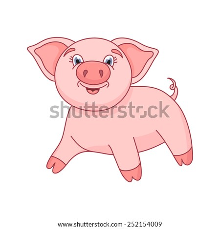 Vector illustration of cute pig, funny piggy standing and smiling - stock vector