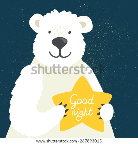 """Vector illustration of cute polar bear with star and hand written text """"Good night"""". Childish background with smiling cartoon character. - stock vector"""