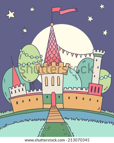 Vector illustration of cute princess castle at night with moon,stars and river - stock vector