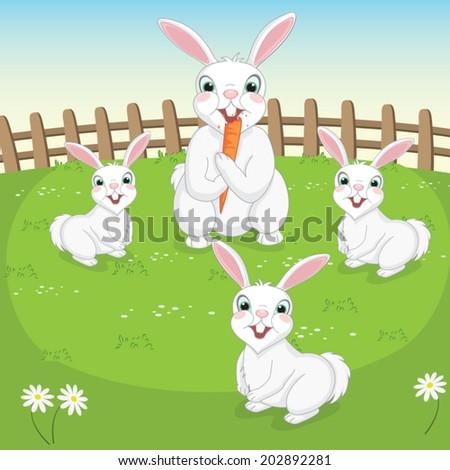 Vector Illustration Of Cute Rabbits  - stock vector