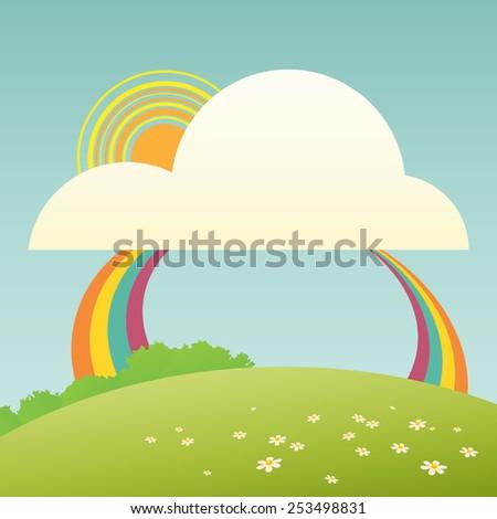 Vector illustration of cute rainbow cartoon. - stock vector
