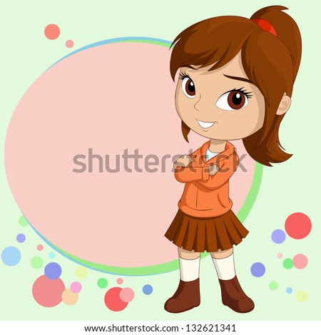 Vector illustration of Cute smiling little girl standing with empty text field on background - stock vector