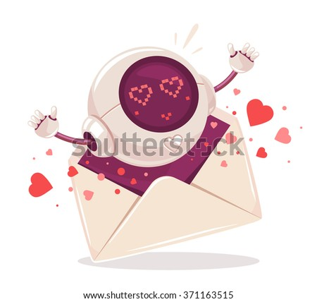 Vector illustration of cute spherical robot comes out of the envelope on white background. Art design for Valentine's Day greetings and card, web, banner, poster, flyer, brochure, print.   - stock vector