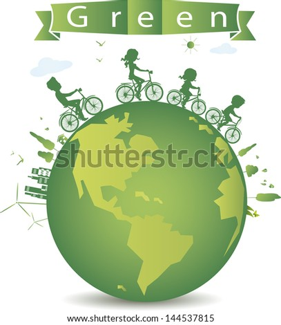 vector illustration of cycling for green earth. - stock vector
