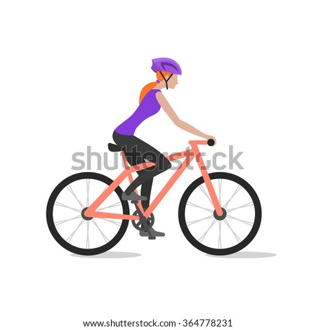 Vector illustration of cyclist girl on bike; biker and bicycling; sport and exercise. - stock vector
