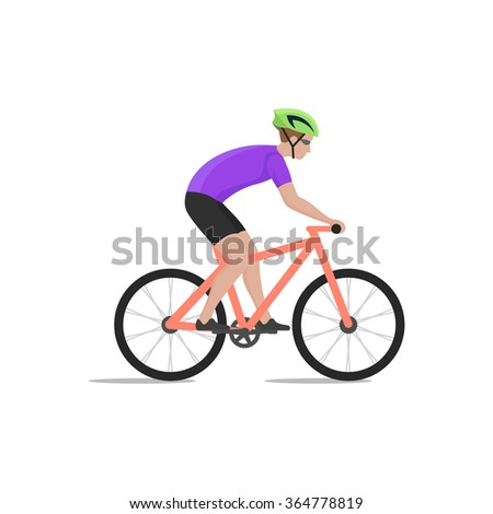 Vector illustration of cyclist on bike; biker and bicycling; sport and exercise. - stock vector