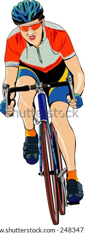vector illustration of  cyclist on white background - stock vector