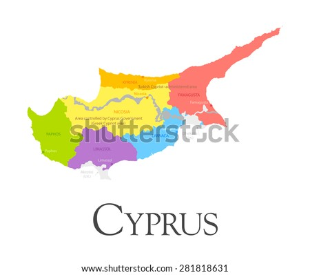 Vector illustration of Cyprus regional map