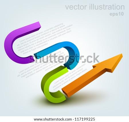Vector illustration of 3d arrow, logo design - stock vector