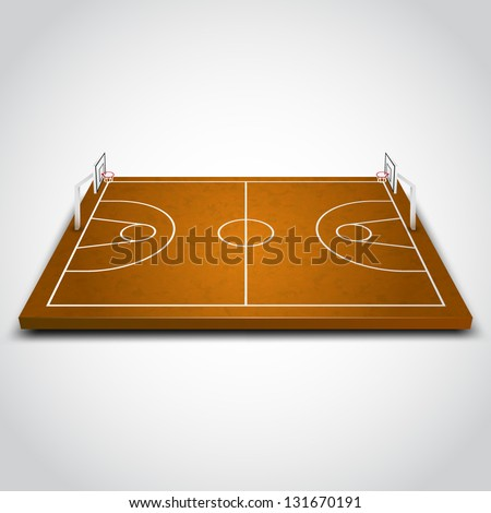 vector illustration of 3d Basketball field. - stock vector