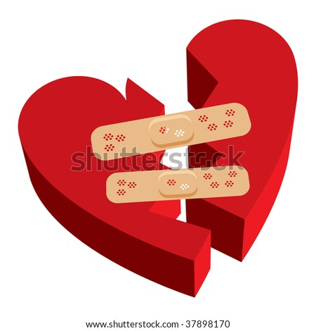 Vector illustration of 3D broken heart with bandages