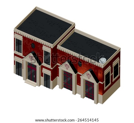 Vector illustration of 3d building. Isometric view of old brick building with showcases and molding. Can be used as icon of  hotel, mall, pastry shop, or dwelling house for games and mobile apps.   - stock vector