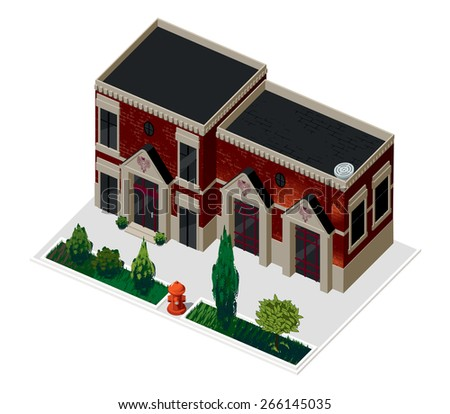 Vector illustration of 3d building. Isometric view of old brick building with showcases and molding. Can be used as icon of, hotel, mall, pastry shop, or dwelling house for games and mobile apps.  - stock vector