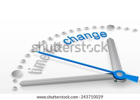 Vector illustration of 3d clock, time for change, steel arrows, motivation for action, design for business - stock vector