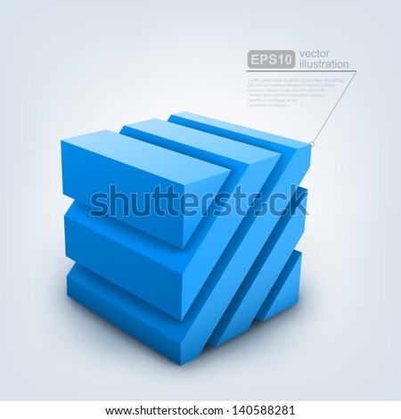 Vector illustration of 3d cube - stock vector