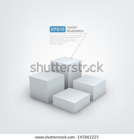 Vector illustration of 3d cubes - stock vector