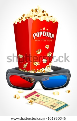 vector illustration of 3d glasses with pop corn and movie ticket - stock vector