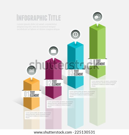 Vector illustration of 3d graphic bar infographic design element. - stock vector