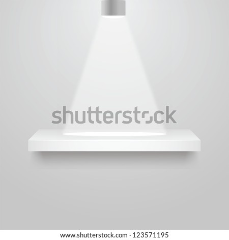 vector illustration of  3d isolated Empty shelves for exhibit. - stock vector
