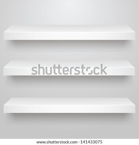 Vector illustration of  3d isolated three empty shelves for exhibit - stock vector