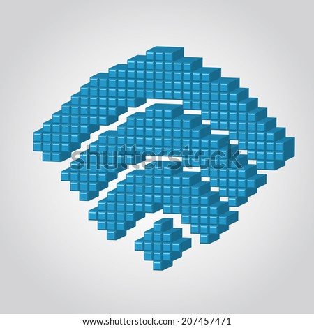 Vector Illustration of 3D Pixel Wi-fi for Design, Website, Background. Connection Banner. Connection signal Icon Element Template for Computer - stock vector