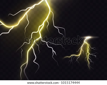 Vector Illustration 3 D Realistic Lightning Thunderbolt Stock Vector