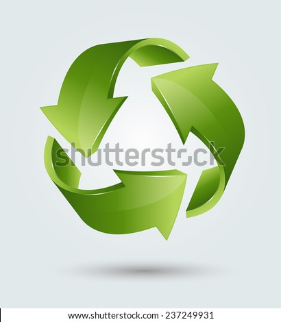 Vector illustration of 3d recycling symbol - stock vector
