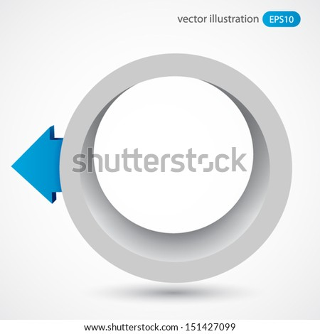 Vector illustration of 3d ring with arrow - stock vector
