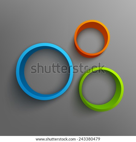 Vector illustration of 3d rings. Background design for banner, poster, flyer, card, postcard, cover, brochure. - stock vector