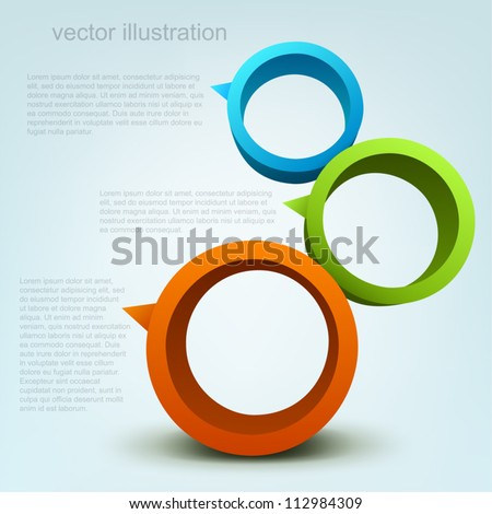 Vector illustration of 3d rings, logo design - stock vector