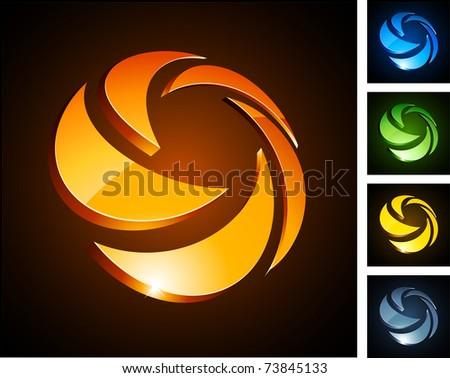 Vector illustration of 3d rotation symbols. - stock vector