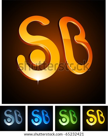 Vector illustration of 3d SB symbols. - stock vector