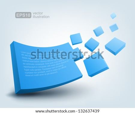 Vector illustration of 3d shape, logo design - stock vector
