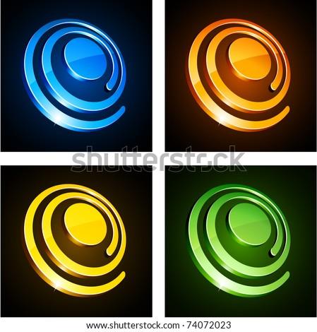 Vector illustration of 3d shiny spirals. - stock vector