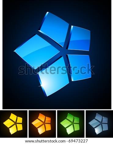 Vector illustration of 3d shiny stars. - stock vector