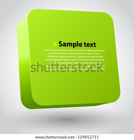 Vector illustration of 3d square. Green variant - stock vector