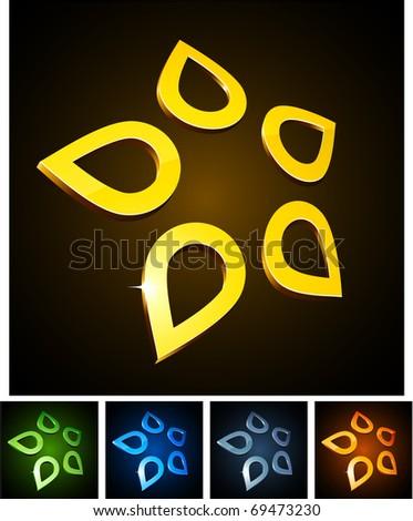 Vector illustration of 3d Star symbols. - stock vector