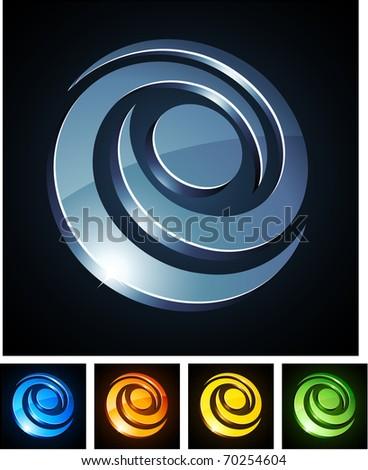 Vector illustration of 3d Swirl symbols. - stock vector