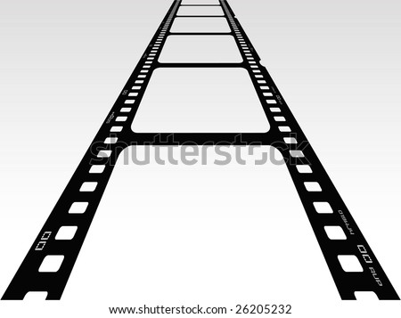 Vector illustration of 3d view of film - stock vector