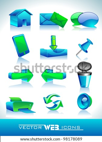 Vector illustration of 3D, web 2.0 mail icons set in green and blue color. Can be used for websites, web applications. email applications or server Icons - stock vector