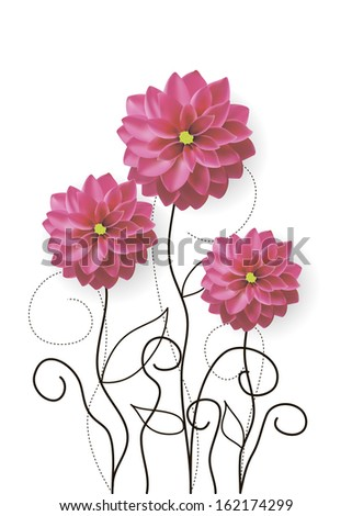 vector illustration of dahlia flowers with drawn sprouts - stock vector
