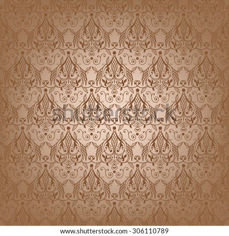Vector illustration of damask seamless pattern. - stock vector