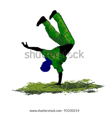 vector illustration of  dancer upwards leg