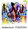 vector illustration of  dancing - stock vector