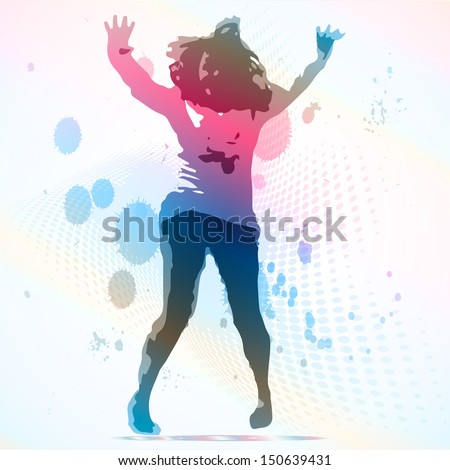 Vector Illustration of dancing girl - stock vector